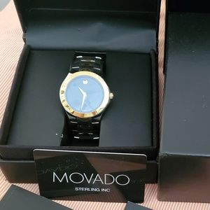 Movado Silver and Gold Blackface Two Toned Watch